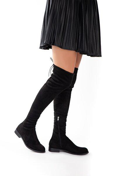 Kadın Siyah Süet Streç Dizüstü Çizme