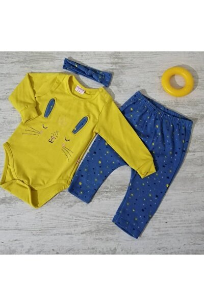 Kız Bebek Sarı Saç Bantlı 3'lü Takım