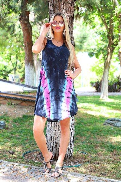 Kadın Siyah Kısa Çan V Desen Batik Elbise