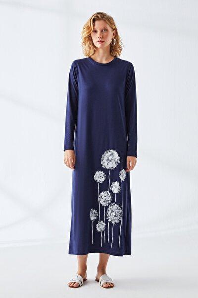 Kadın Lacivert Baskılı Natürel Elbise