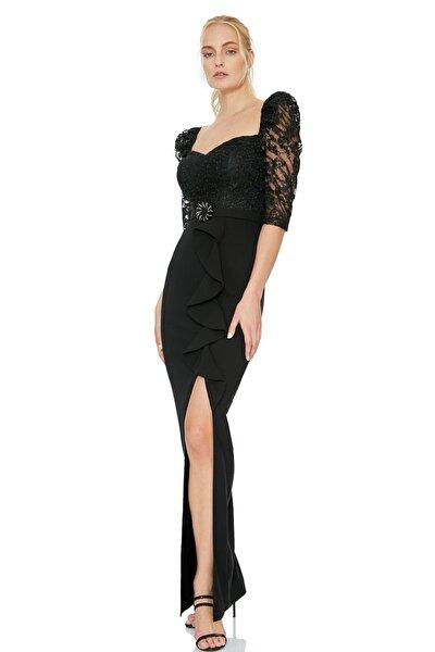 Kadın Siyah Krep 3/4 Kol Maxi Elbise