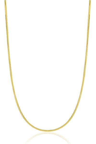 Kadın Gümüş Italyan Yassı Yılan Zincir 24 Ayar Altın Kaplama Ezme Kolye Özel 1mm Mücevher