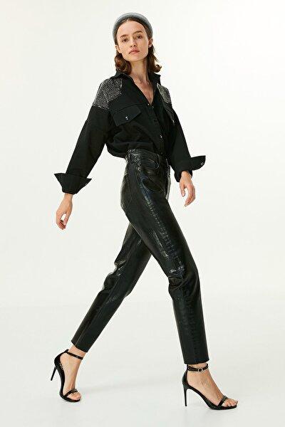 Kadın Siyah Lak Baskılı Jean Pantolon  TW6200018030