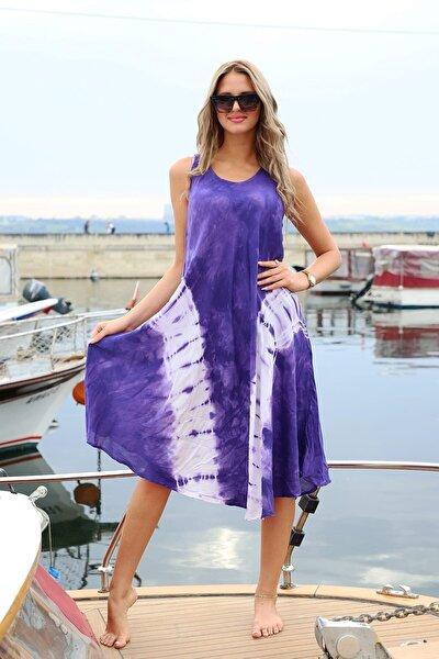 Kadın Uzun Çan V Desenli Batik Elbise