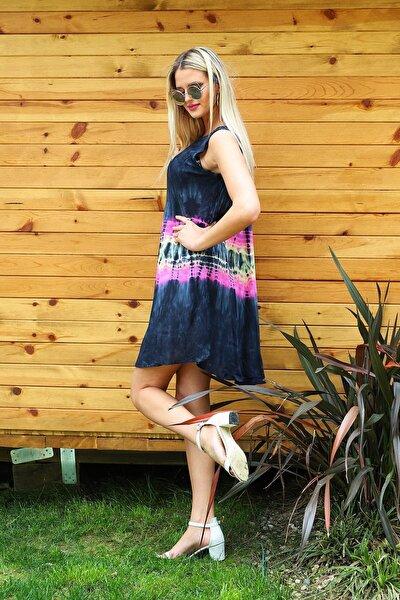 Kadın Sİyah Kısa Çan Batik Elbise