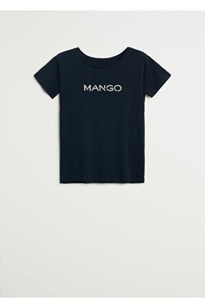 Kadın Lacivert Pamuklu Logolu T-Shirt