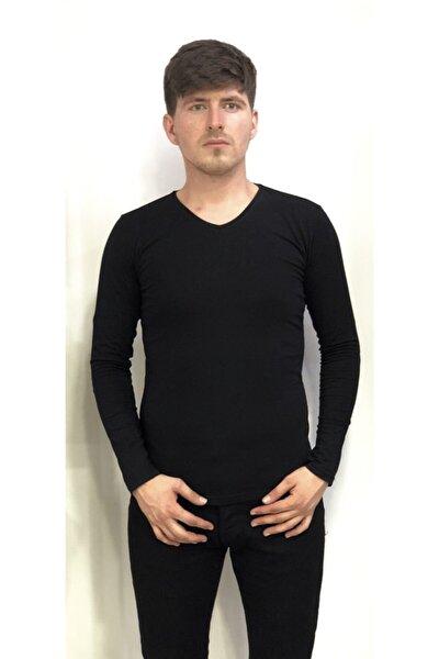Erkek Siyah Büyük Beden Pamuklu Sweatshirt