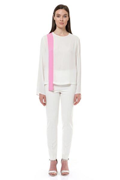 Kadın Ekru Asimetrik Şerit Detaylı Bluz