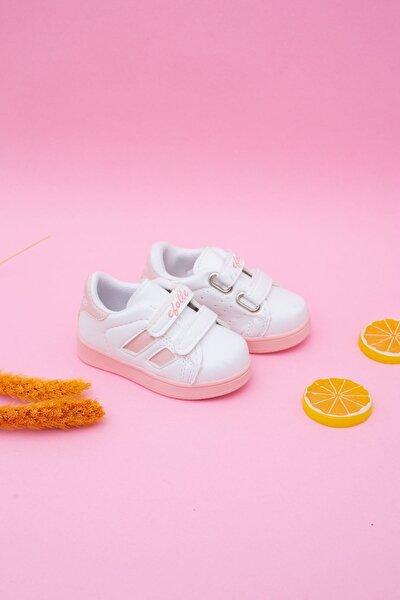 Kız Çocuk Beyaz Yanı Pudra Şeritli Bebe Ayakkabı