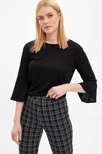 Kadın Siyah Uzun Kollu T-Shirt I4507AZ.20SP.BK27