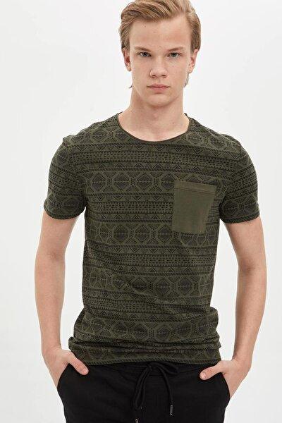 Erkek Haki Desenli Extra Slim Fit T-Shirt M3693AZ.20SP.KH244