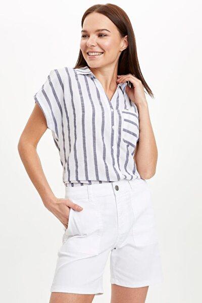 Kadın Lacivert Çizgili Kısa Kollu T-shirt L4197AZ.20SM.NV94