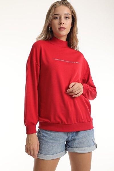 Kadın Baskılı Yarım Balıkçı Yaka Sweatshirt/kırmızı/m