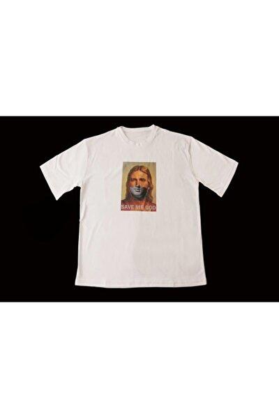 Unisex Beyaz Isa Heykeli Oversize T-Shirt