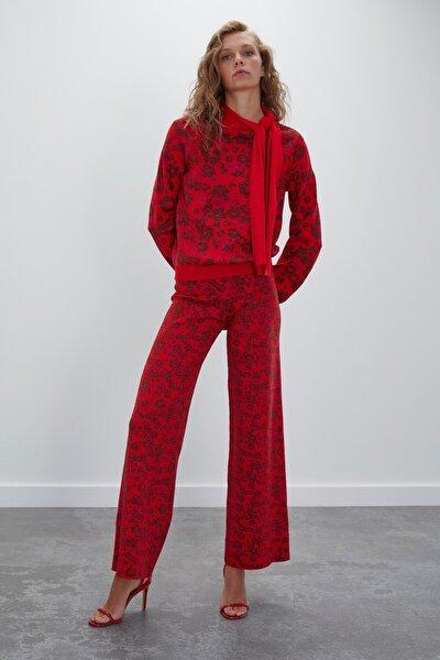 Kadın Kırmızı Multi Çiçek Desenli Beli Lastikli Triko Pantolon