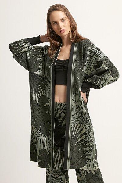 Kadın Yaprak Desenli Hırka-Yeşil 2020S124-YESIL