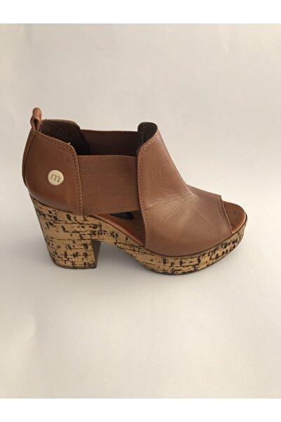 Kadın Kahverengi Kalın Topuk Sandalet