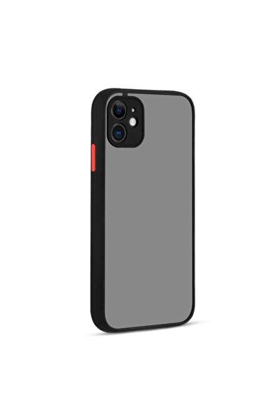 Apple Iphone 11 Kılıf Kamera Korumalı Mat Renkli Kapak Siyah