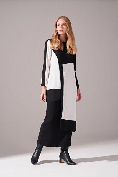 Kadın Siyah Parça Detaylı Tunik Elbise