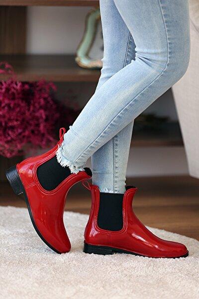 Kadın Kırmızı Siyah Yağmur Botu