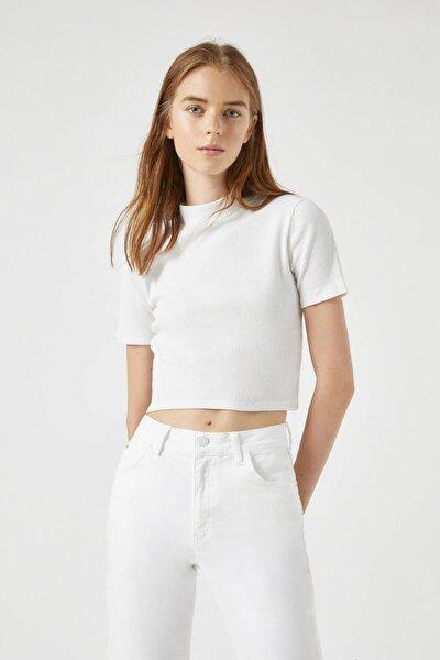 Kadın Beyaz Fitilli Dik Yaka T-Shirt 09247391