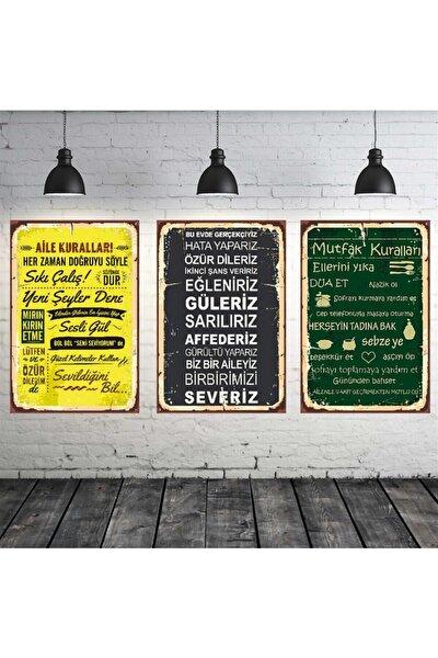 Aile Ve Mutfak Kuralları Temalı 3 Adet 20-30 cm Mdf Tablo Seti