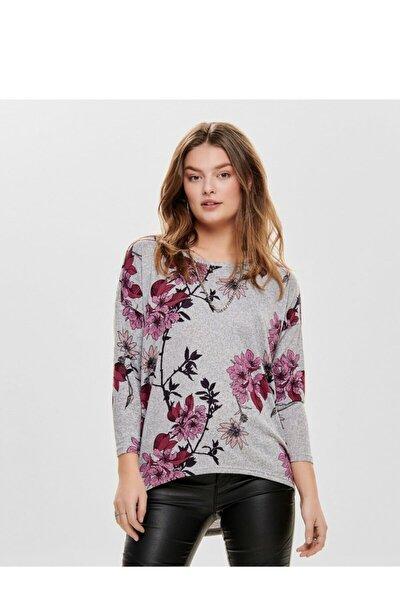 Kadın Gri Çiçek Desenli Bluz