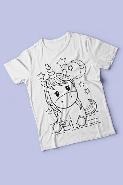Kız Erkek Çocuk Beyaz Boyanabilir Unicorn Desenli Tişörtü