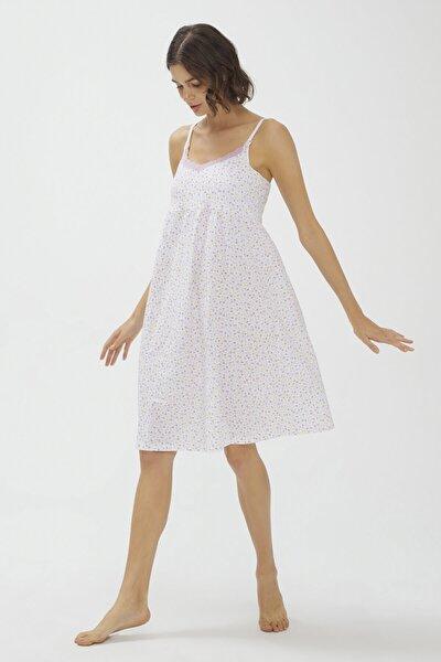 Optik Beyaz Lilac Ditsy Mommy Emzirme Elbisesi