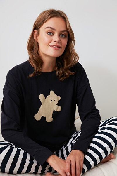 Lacivert Ayıcık Baskılı Örme Pijama Takımı THMAW21PT0302