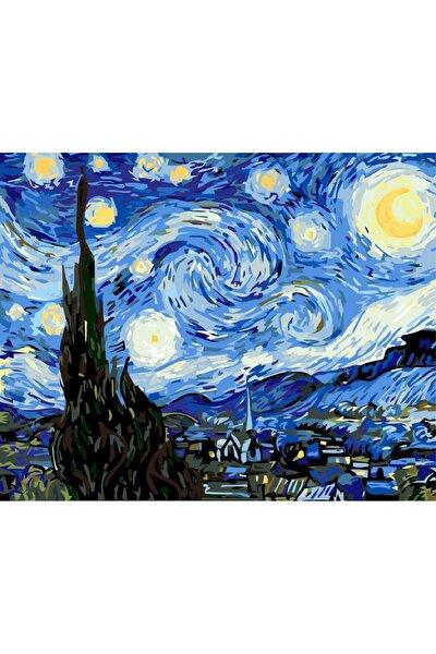 Sayılarla Boyama Tablo Seti Kanvas Fırça Boya Dahil 45x55 cm - Van Gogh Yıldızlı Gece