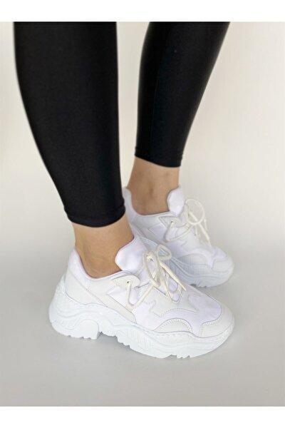 Kadın Beyaz Scuba Ugly Sneakers Bağcık Detaylı Ayakkabı