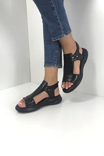 Kadın Siyah Hakiki Deri Spor Sandalet