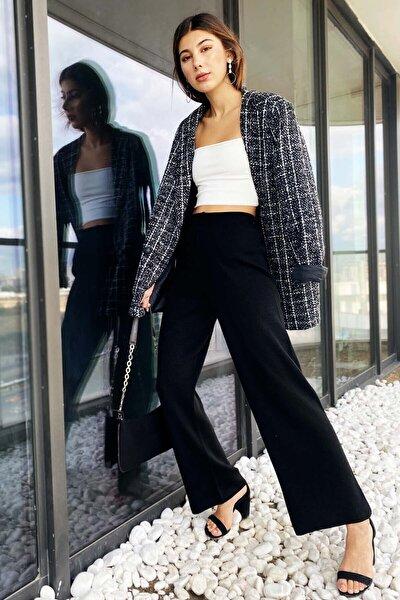 Yüksek Bel Rahat Kesim Triko Pantolon - Siyah