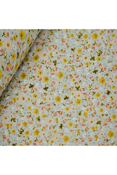 Eninde Çiçekli Poplin Kumaş
