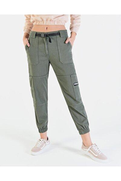 Kadın Haki Cep Detaylı Kargo Pantolon