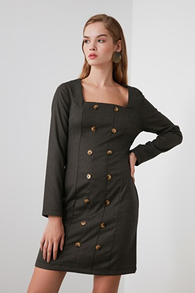 Antrasit Düğme Detaylı Elbise TWOAW21EL0482
