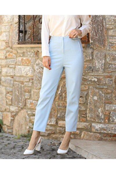 Kadın Mavi Yüksek Bel Dikiş Detaylı Pantolon
