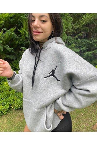 Kadın Gri Jumpman Basklı Sweat