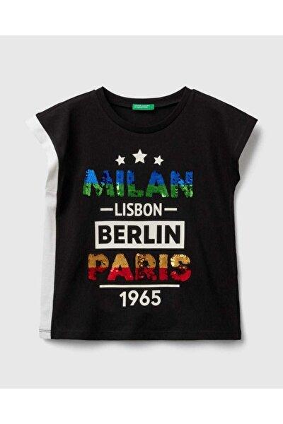 Kız Çocuk Siyah Payetli Şehir Yazılı T-Shirt