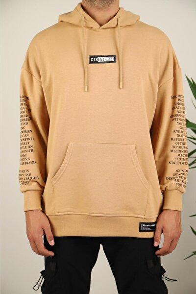 Unisex Camel Kolları Yazılı Sweatshirt