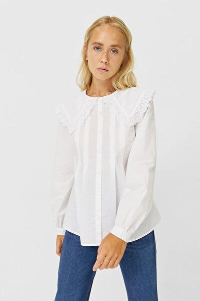 Kadın Beyaz Yaka Detaylı Poplin Gömlek 06192673