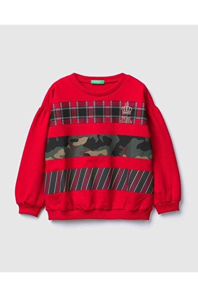 Kız Çocuk Kırmızı Ekose Kamuflaj Baskı Sweatshirt