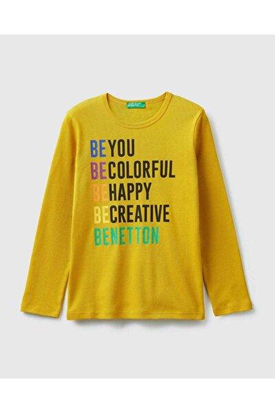 Kız Çocuk Hardal Benetton Yazılı Tişört