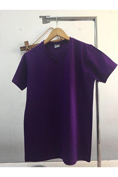 Erkek Mor Pamuk V Yaka T-shirt