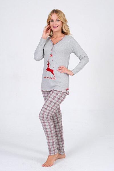 Kadın Uzun Kollu Düğmeli  Geyik Nakışlı Gri Ekoseli Interlok Pijama Takımı