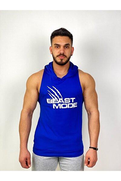 Erkek Mavi Beast Mode Kapşonlu Fitness Atleti