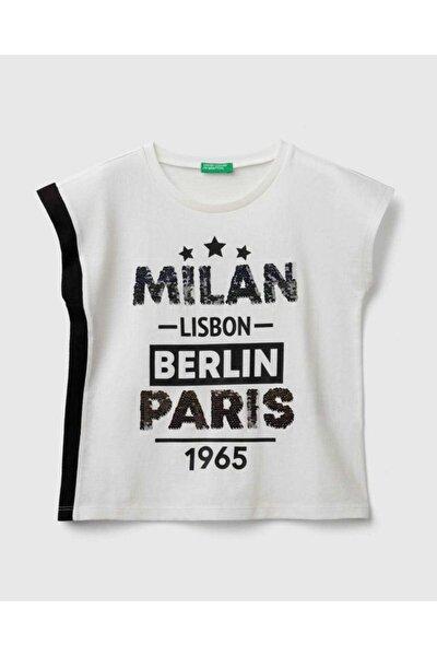 Kız Çocuk Krem Payetli Şehir Yazılı T-Shirt