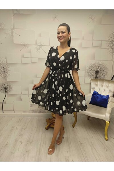 Kadın Siyah Şifon Elbise