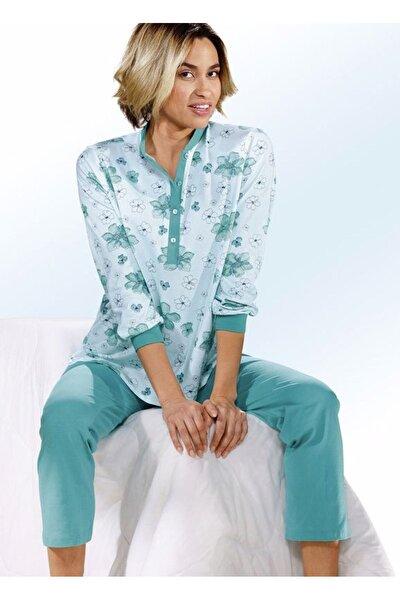 Kadın Yeşil Çiçek Desen Pijama Takımı